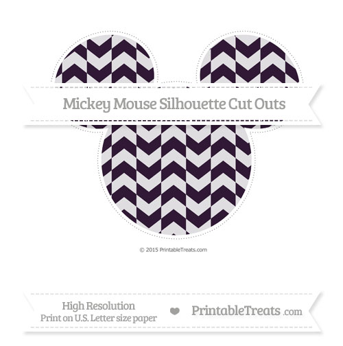 Free Dark Purple Herringbone Pattern Extra Large Mickey Mouse Silhouette Cut Outs