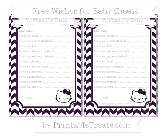 Free Dark Purple Herringbone Pattern Hello Kitty Wishes for Baby Sheets