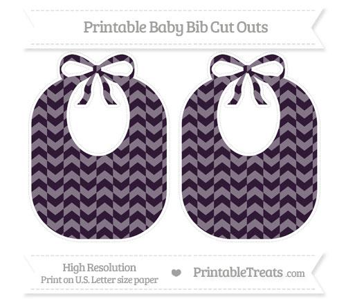 Free Dark Purple Herringbone Pattern Large Baby Bib Cut Outs
