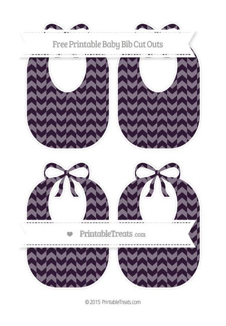 Free Dark Purple Herringbone Pattern Medium Baby Bib Cut Outs