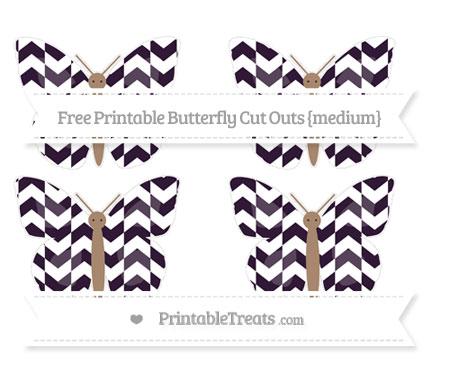 Free Dark Purple Herringbone Pattern Medium Butterfly Cut Outs