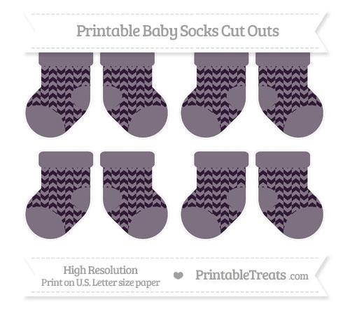 Free Dark Purple Herringbone Pattern Small Baby Socks Cut Outs