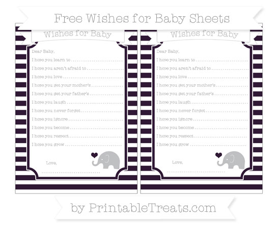 Free Dark Purple Horizontal Striped Baby Elephant Wishes for Baby Sheets