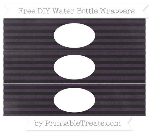 Free Dark Purple Horizontal Striped Chalk Style DIY Water Bottle Wrappers