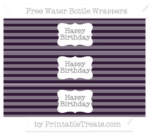 Free Dark Purple Horizontal Striped Happy Birhtday Water Bottle Wrappers