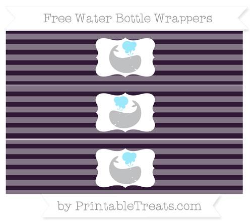 Free Dark Purple Horizontal Striped Whale Water Bottle Wrappers