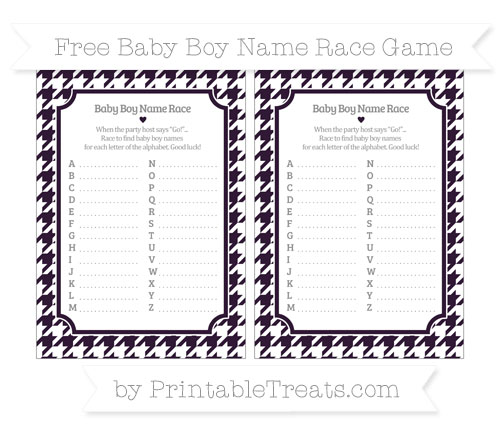 Free Dark Purple Houndstooth Pattern Baby Boy Name Race Game