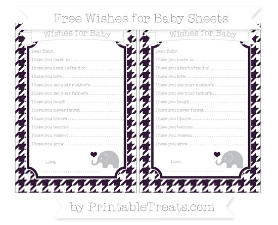 Free Dark Purple Houndstooth Pattern Baby Elephant Wishes for Baby Sheets