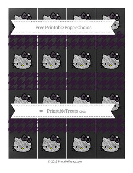 Free Dark Purple Houndstooth Pattern Chalk Style Hello Kitty Paper Chains