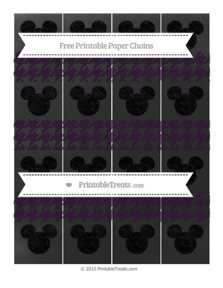 Free Dark Purple Houndstooth Pattern Chalk Style Mickey Mouse Paper Chains