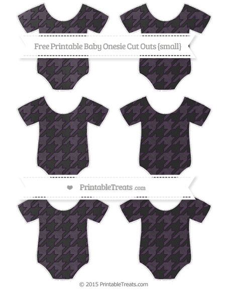 Free Dark Purple Houndstooth Pattern Chalk Style Small Baby Onesie Cut Outs