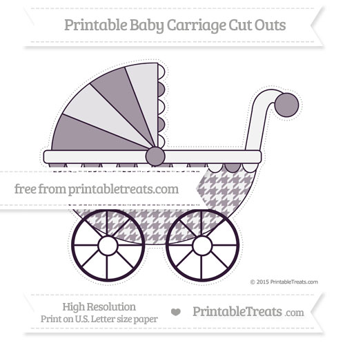 Free Dark Purple Houndstooth Pattern Extra Large Baby Carriage Cut Outs