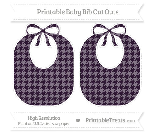 Free Dark Purple Houndstooth Pattern Large Baby Bib Cut Outs
