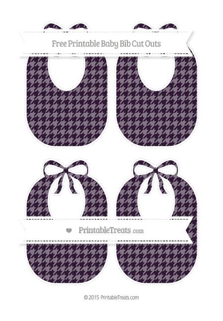 Free Dark Purple Houndstooth Pattern Medium Baby Bib Cut Outs