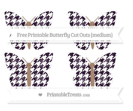 Free Dark Purple Houndstooth Pattern Medium Butterfly Cut Outs
