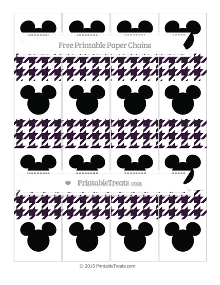 Free Dark Purple Houndstooth Pattern Mickey Mouse Paper Chains
