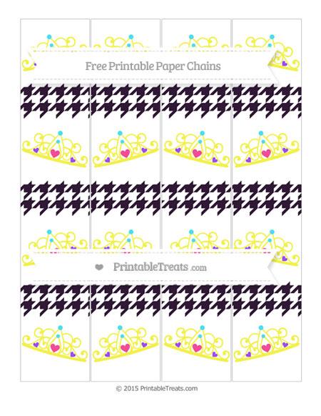 Free Dark Purple Houndstooth Pattern Princess Tiara Paper Chains