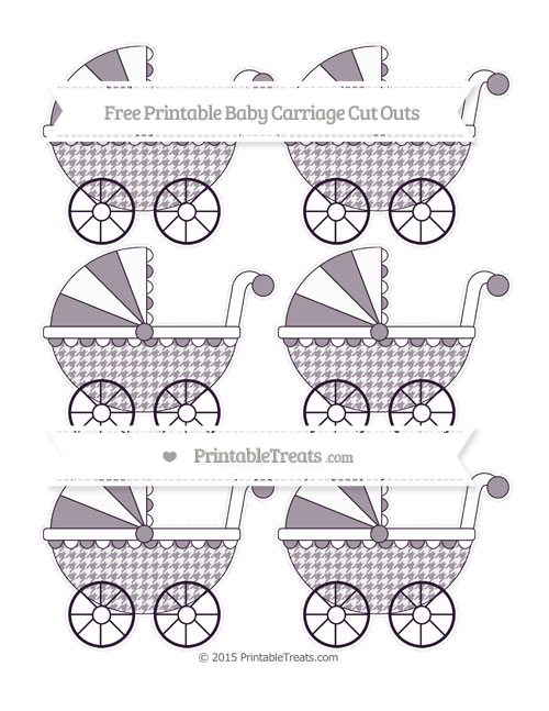 Free Dark Purple Houndstooth Pattern Small Baby Carriage Cut Outs