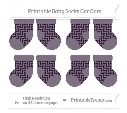 Free Dark Purple Houndstooth Pattern Small Baby Socks Cut Outs