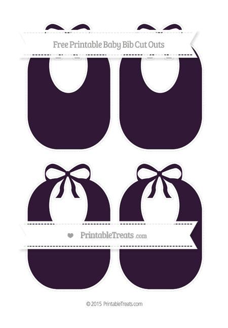 Free Dark Purple Medium Baby Bib Cut Outs