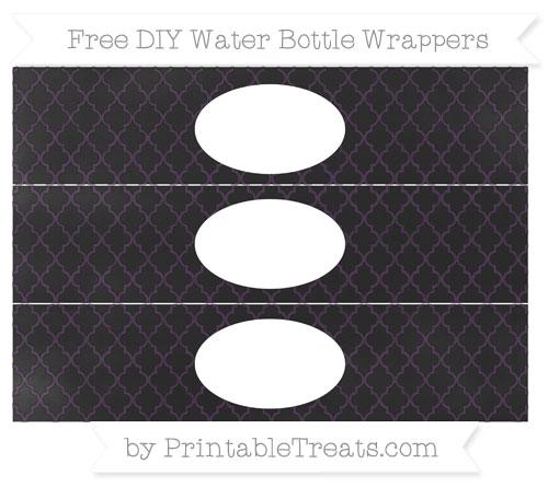 Free Dark Purple Moroccan Tile Chalk Style DIY Water Bottle Wrappers