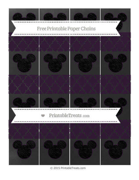 Free Dark Purple Moroccan Tile Chalk Style Mickey Mouse Paper Chains