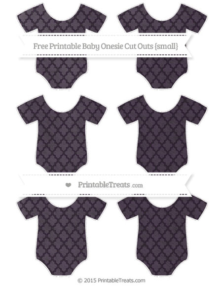 Free Dark Purple Moroccan Tile Chalk Style Small Baby Onesie Cut Outs