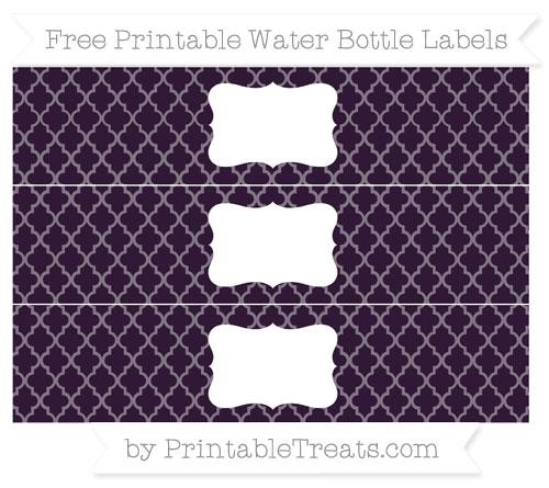 Free Dark Purple Moroccan Tile Water Bottle Labels