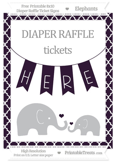 Free Dark Purple Moroccan Tile Elephant 8x10 Diaper Raffle Ticket Sign