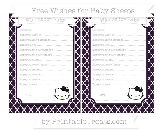 Free Dark Purple Moroccan Tile Hello Kitty Wishes for Baby Sheets