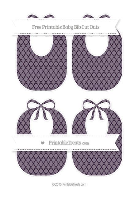 Free Dark Purple Moroccan Tile Medium Baby Bib Cut Outs