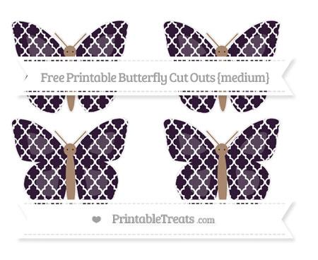 Free Dark Purple Moroccan Tile Medium Butterfly Cut Outs