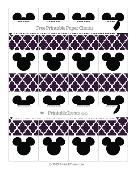 Free Dark Purple Moroccan Tile Mickey Mouse Paper Chains