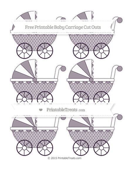 Free Dark Purple Moroccan Tile Small Baby Carriage Cut Outs
