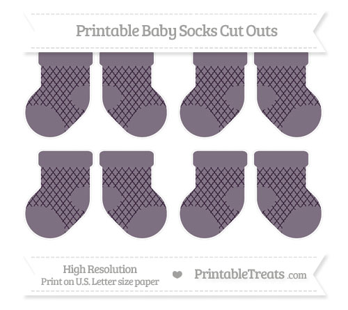 Free Dark Purple Moroccan Tile Small Baby Socks Cut Outs