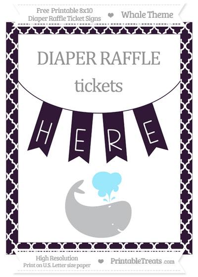Free Dark Purple Moroccan Tile Whale 8x10 Diaper Raffle Ticket Sign