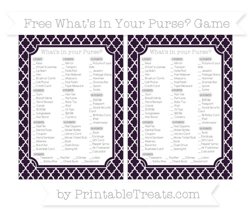 Free Dark Purple Moroccan Tile What's in Your Purse Baby Shower Game