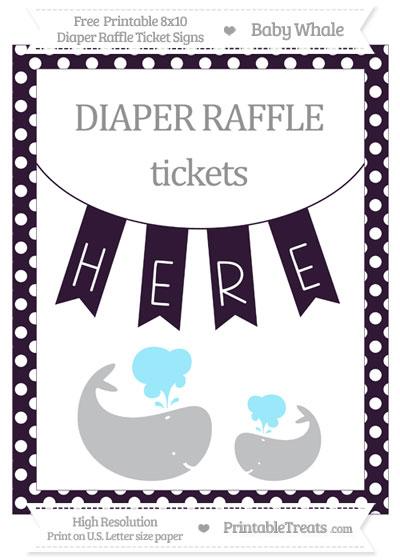 Free Dark Purple Polka Dot Baby Whale 8x10 Diaper Raffle Ticket Sign