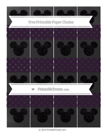 Free Dark Purple Polka Dot Chalk Style Mickey Mouse Paper Chains