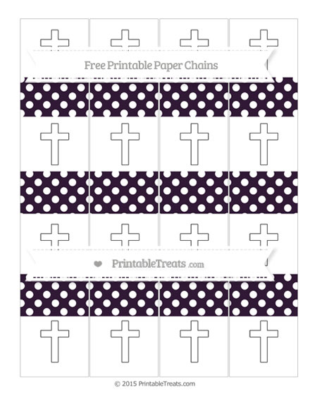 Free Dark Purple Polka Dot Cross Paper Chains