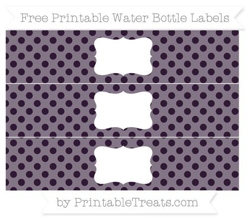 Free Dark Purple Polka Dot Water Bottle Labels