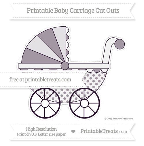 Free Dark Purple Polka Dot Extra Large Baby Carriage Cut Outs