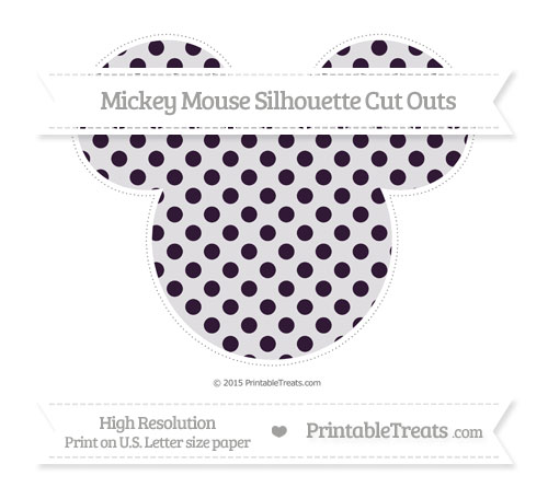 Free Dark Purple Polka Dot Extra Large Mickey Mouse Silhouette Cut Outs