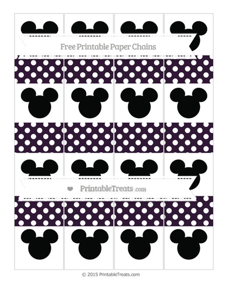 Free Dark Purple Polka Dot Mickey Mouse Paper Chains