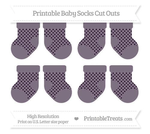 Free Dark Purple Polka Dot Small Baby Socks Cut Outs