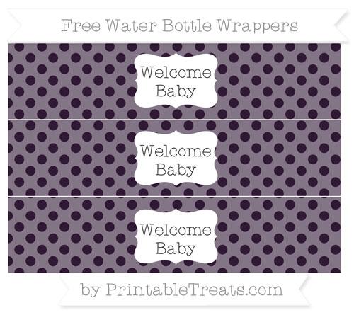 Free Dark Purple Polka Dot Welcome Baby Water Bottle Wrappers