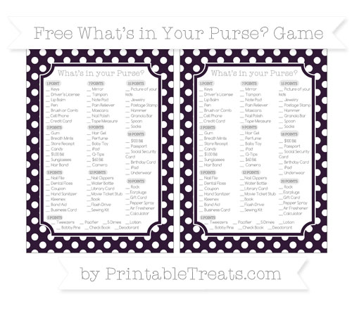 Free Dark Purple Polka Dot What's in Your Purse Baby Shower Game
