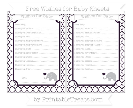Free Dark Purple Quatrefoil Pattern Baby Elephant Wishes for Baby Sheets