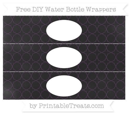 Free Dark Purple Quatrefoil Pattern Chalk Style DIY Water Bottle Wrappers
