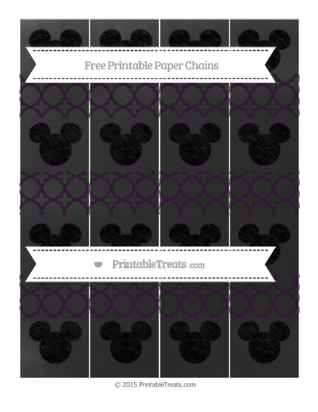 Free Dark Purple Quatrefoil Pattern Chalk Style Mickey Mouse Paper Chains